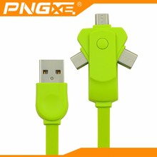 PNGXE colorful TPE noodle flat usb 2A 1M fast charging micro usb 3 in 1 charging cable for iphone samsung and type c