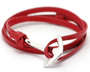 Yiwu jewelry manufacturer stainless steel anchor leather bracelets