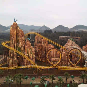 Outdoor amusement park products China factory made four loops roller coaster for sale