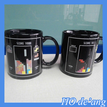 HOGIFT 11oz Sublimation Blue Color Change Mug/ white Magic Cup , with outside white logo