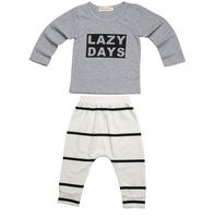 2PCS Baby Boys Full Sleeve Gray T-shirt + Stripe Pants Newborn Baby Boy Cotton Outfit Clothes