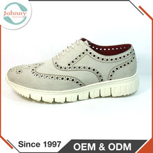 2014 Men Fashion Design Suede Upper Breathable White Casual Shoe