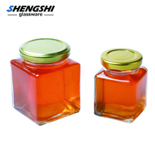 Empty Square/Hexagonal Honey Storage Glass Mason Jar for Jam and Jelly with Tin Lid