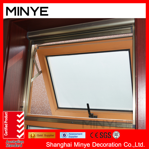 New design PVC awning window with rolling screen for bathroom