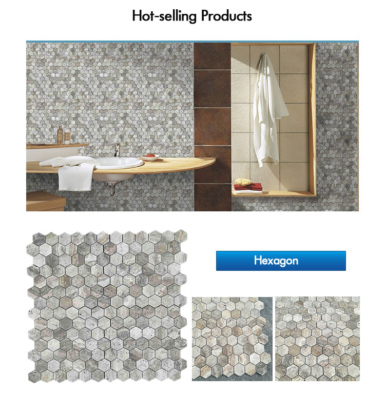 Retro Hexagon  Mosaic Grey Marble Silver Travertine For Kitchen Backsplash