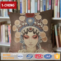 Trade Assurance Creative Peking Opera Printed Design Custom Cushion Home Decor Pillow Case Hand Embroidery Cushion Cover