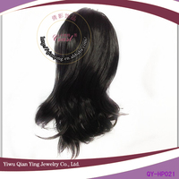 girls black full ponytail wig with jaw clip