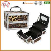 Beauty Mini Makeup Train Case Two accordion style foldout trays, with a flip top and mirrored back