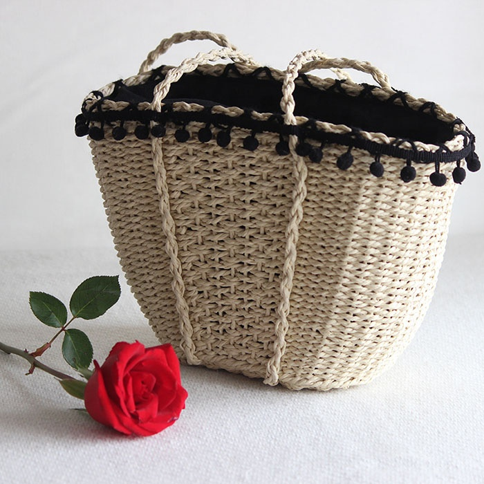 Rattan Bags Wholesale Summer Beach Straw Handbags with  lady.jpg