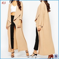 Wholesale Cheap High Quality Latest Design Waterall Crepe Coat Dress Style Maxi Duster Coat