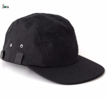 black canvas leather strap back flat brim blank wholesale 5 panel hats