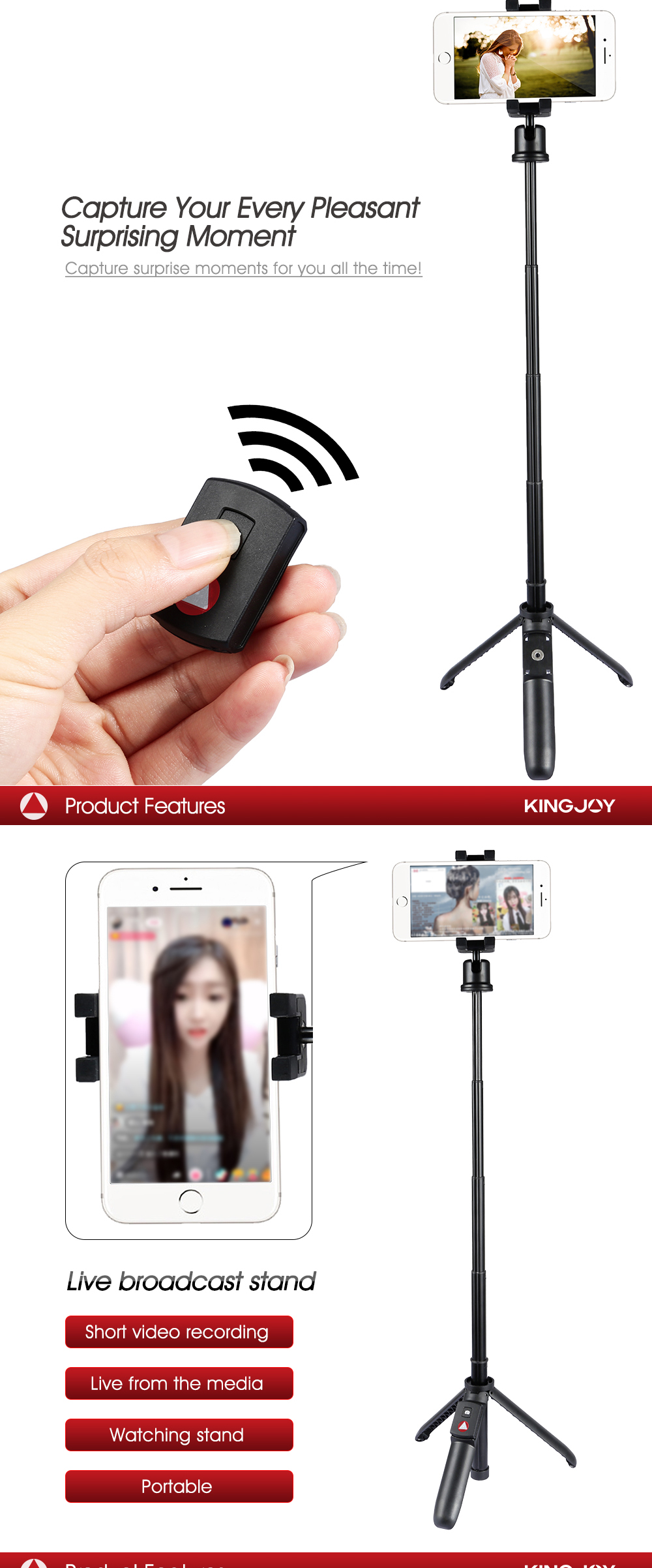 OEM KINGJOY new released Mobile Phone Bluetooth Selfie Stick tripod M070