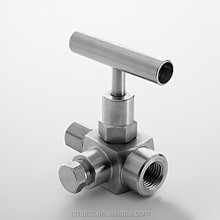 Stainless steel 1/2 inch angle needle triangle 3-way water needle valve