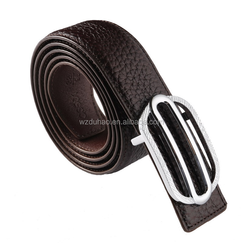 Mens Belts Genuine Leather Famous Brand For Bussiness Style Press Button Buckle Leather Belt
