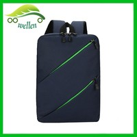 latest trendy inclined zipper plain backpack nylon school bag wholesale