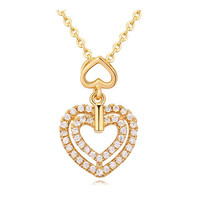 Allencoco fashion necklace of double heart necklace of gold necklace designs in 10 grams made in thailand products