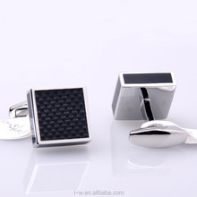 LB-1095 Customized Black Blue Color Cubic Carbon Fiber Cufflinks
