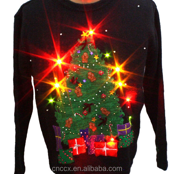 14STC8052 festival ugly christmas sweater with LED lights