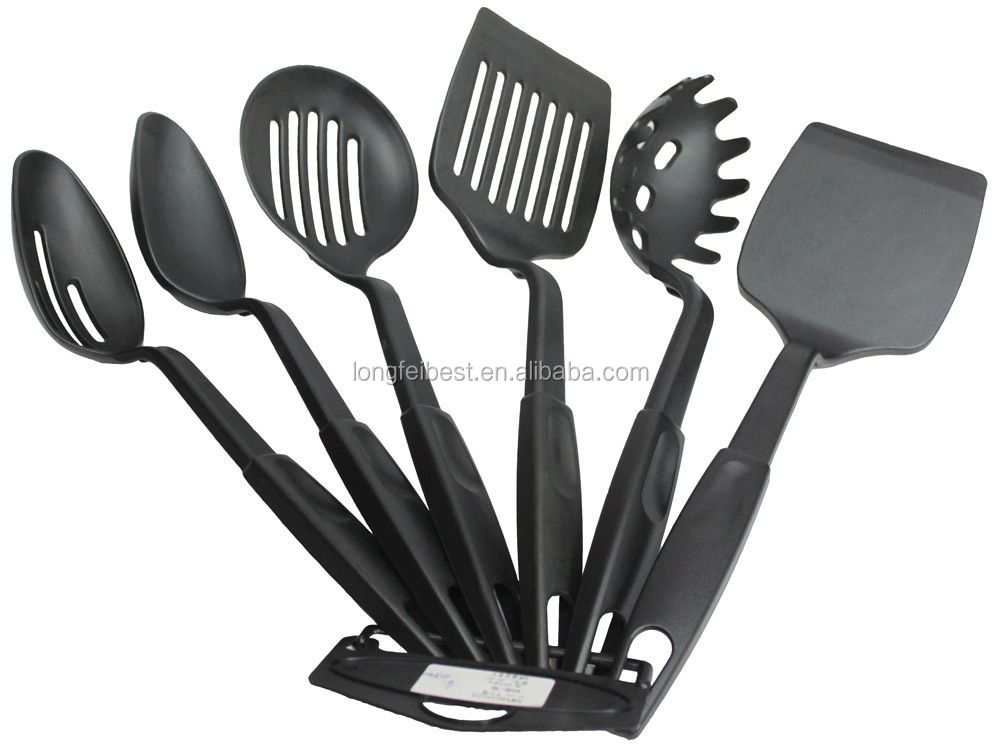 6pcs ABS nylon cookware set,nylon spatula-spoon-egg rake-grease filter set