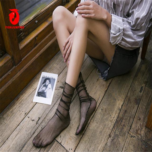 fashion summer sheer sparkle tulle glitter mesh socks for women