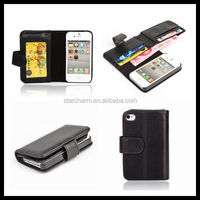elegant leather book case for iphone 4/4s book leather case