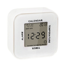 Hot Sales Promotion Mini Gift Digital Table Alarm Clock with LED backlight calendar and 4 side function