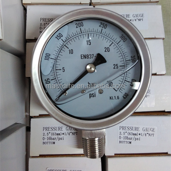 4 All Stainless Steel Wika Pressure Gauge en 837-1 of manometer 30 bar