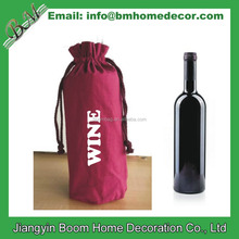 Fancy Holiday Single Bottle Reusable Cotton Canvas Wine Gift Bag