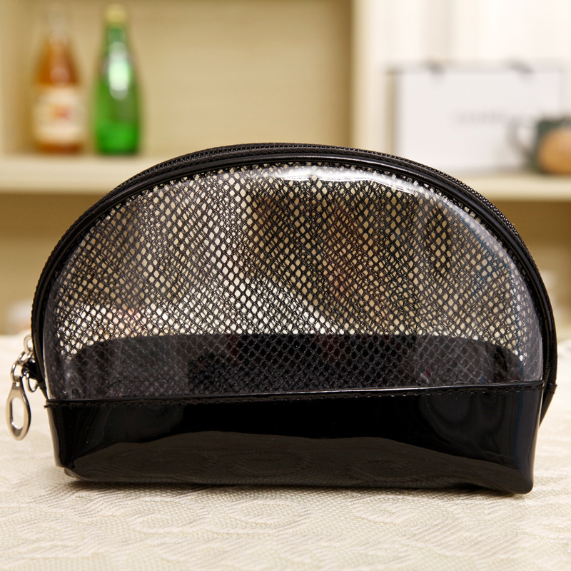 Korea fashion transparent black pvc mesh cosmetic wash bag