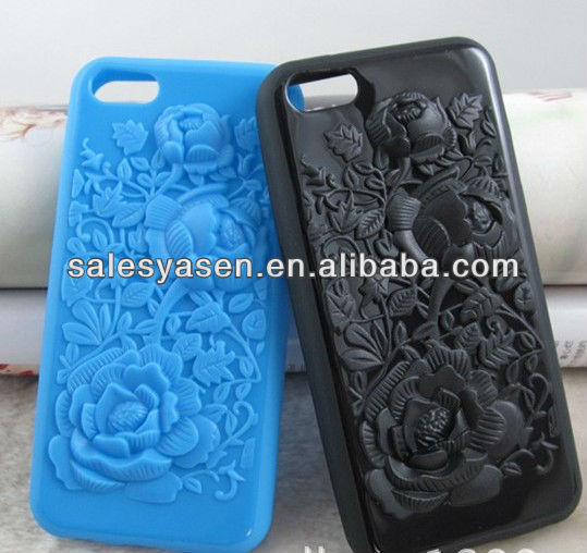 New style 3D rose shape for IPHONE 5C TPU case