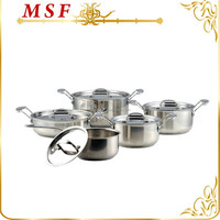 2015 elegant kitchen queen 10pcs stainless steel cookware set copper capsulated sandwich bottom