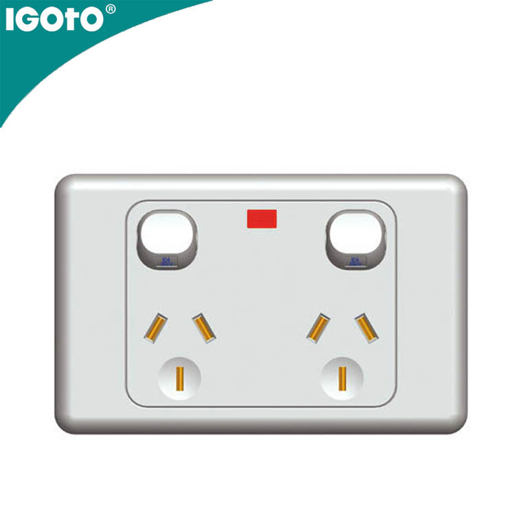 AS337N SAA Australian standard 15A horizontal double powerpoints <strong>W</strong>/Neon MP Power Point Electrical Wall Switch And Socket With Sa