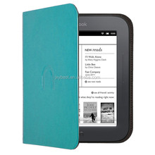 Leather Case factory custom leather flip smart cover case for Barnes & Noble NOOK Glowlight flip case for NOOK 2/3 ebook Reader