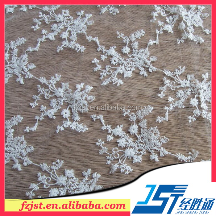Factory direct sales embroidered silk organza fabric for wedding dress