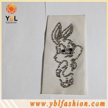 wholesale Rabbit Design Crystal rhinestone applique for Clothing