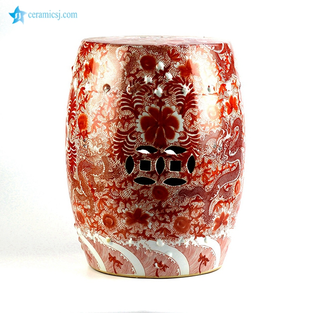 RZIS01 Scarlet red famille rose hand paint Chinese dragon pattern ceramic patio stool