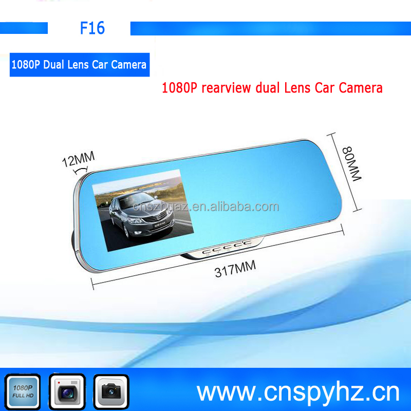 170 Degree Dual Camera 4.3inch Car DVR rearview Mirror car black box Full HD 1080p Car Camera DVR +720P Video Recorder