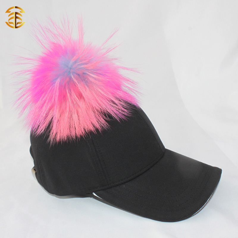 Promotional Logo Printed Cheap Custom Baseball Cap Raccoon Fur Ball Cap