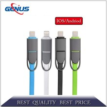 Available stock 2 in 1 flat usb multi charger data cable for iPhone 6 Plus micro usb cable