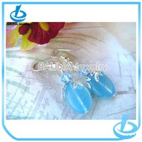 Beautiful fashion pastel blue glass crystal earrings for girls