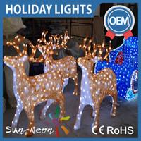 Beautiful light up led christmas lights reindeer with sleigh sled