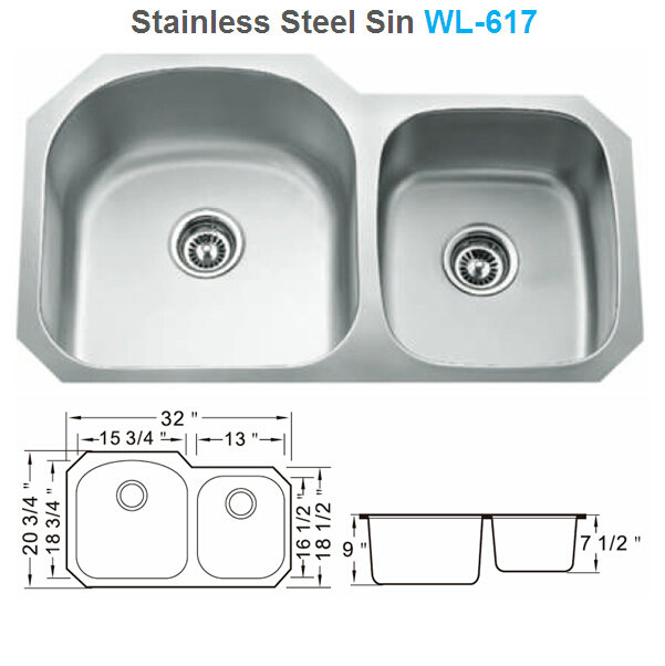 stainless steel sink double bowl kitchen sink WL-617