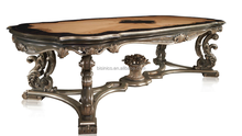 Bisini Baroque Antique Style Wooden Top Dining Room Furniture Dining Table, French Style Luxury Dining Table