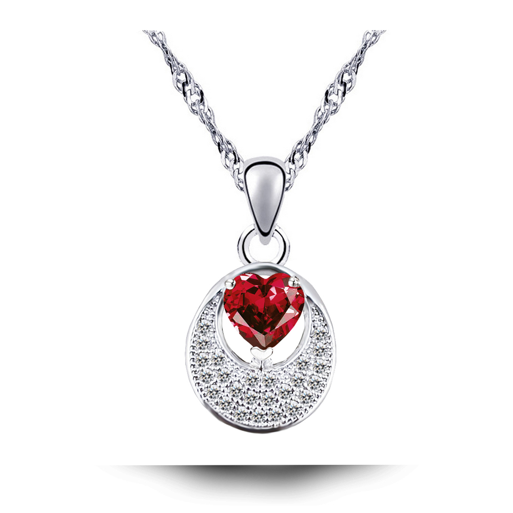 <strong>N100</strong> AAA Zircon Heart Stone Necklace Women Silver Plated Jewelry 2017 Fashion Cubic Zirconia Necklaces Pendants