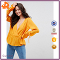 OEM yellow v neck girls blouse,chiffon woman blouse shirt manufacturer in china