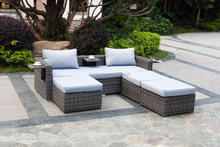 Sectional rattan sofa furniture daybed, rattan garden sofa with side table and ottoman