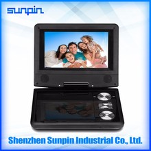 PDVD, battery powered 7 inch mini laptop with DVD player with SD card slot/USB port