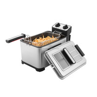 XJ-11301BO 4L electric deep fryer with timer with glass window and filter on lid