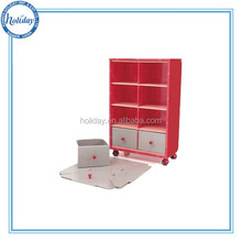 high quality cardboard cupboard with wheel, cardboard furniture cabinet with wheel