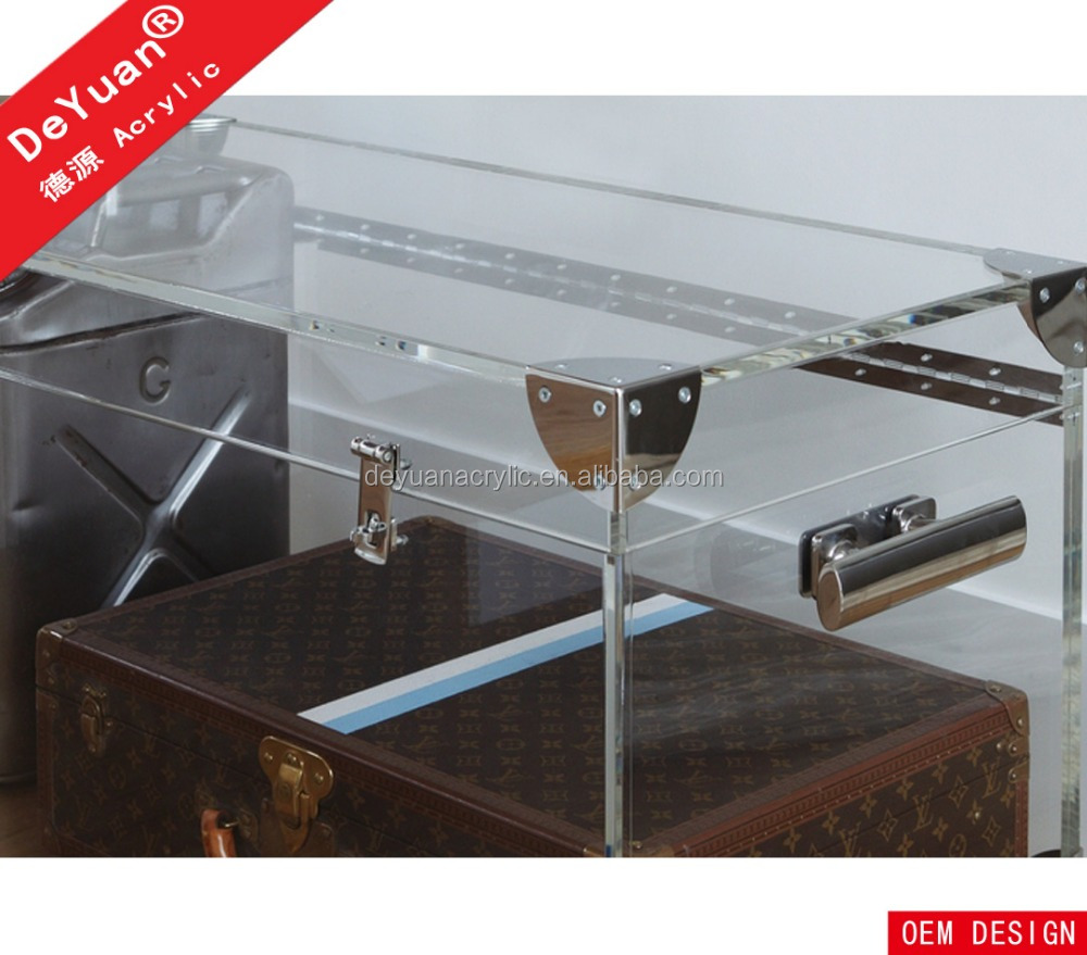 Clear acrylic storage trunk table